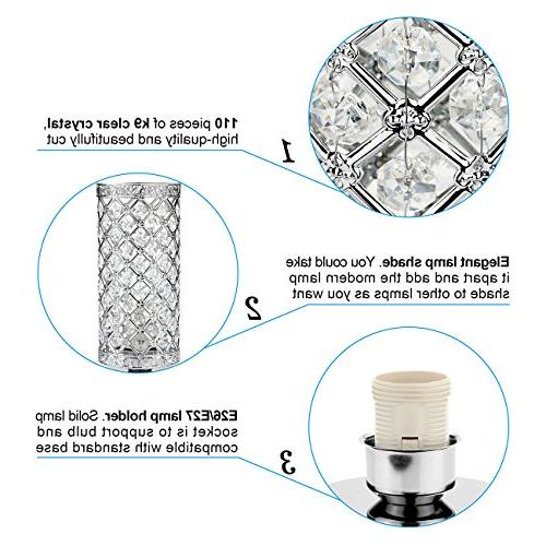 Crystal Control Dimmable Lamp Bedside Light Sliver Shade Night Fixture Kitchen, Seaside
