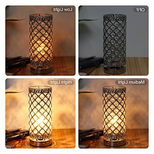 Crystal Table Lamp Bedside Modern Light with Lamp Shade Night Light for Living Kitchen, by Seaside Village