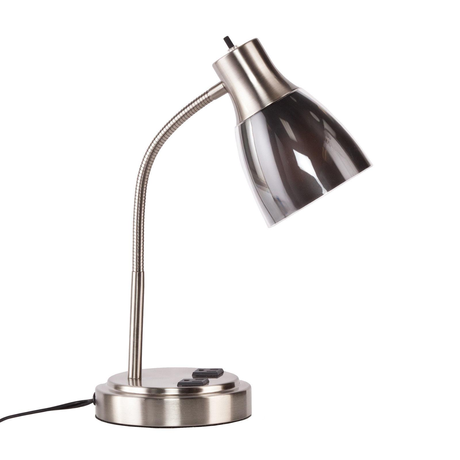 CTL10902 SATIN STEEL METAL DESK LAMP WITH GRAY ACCENT