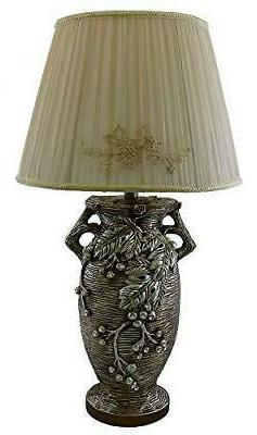 Table Lamp in Shape of Greek Vase with Grape Leaves 29 Inch