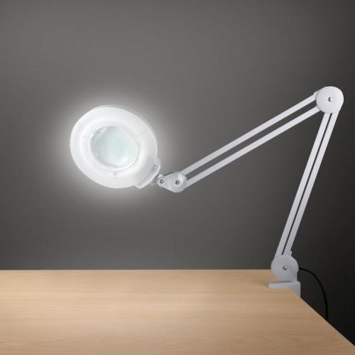 Desk Clamp Magnifying Lamp Workbench Light 5 Diopter Magnifi