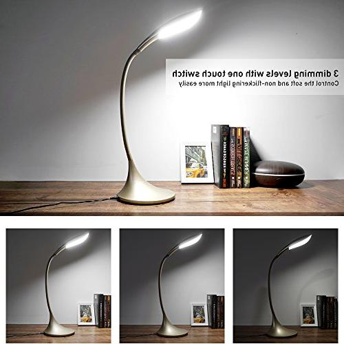 LED Desk Lamp Touch Control Craft Gold Dimmable Portable Task Lamp for to