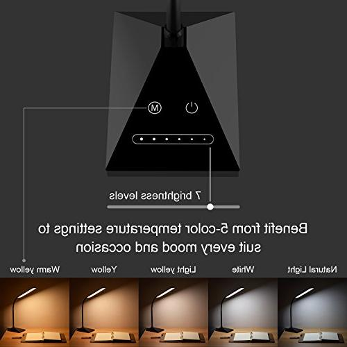 RAOYI Lamp Eye-Caring Table Lamps, Dimmable Office Charging Port, Sensitive, Color Black,