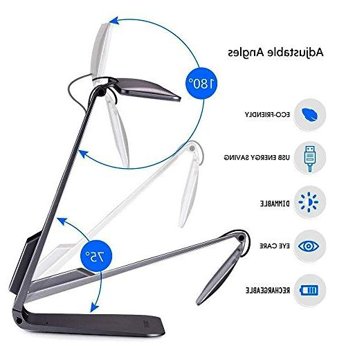 Lamp,Portable Eye-caring Light with USB Charging Port,Touch Control,200LM 3 Modes