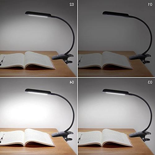 KEDSUM 7W Desk Lamp, Gooseneck Clip on with 3-Level Touch-Sensitive Panel, Clamp Light Desk, Headboard Computers