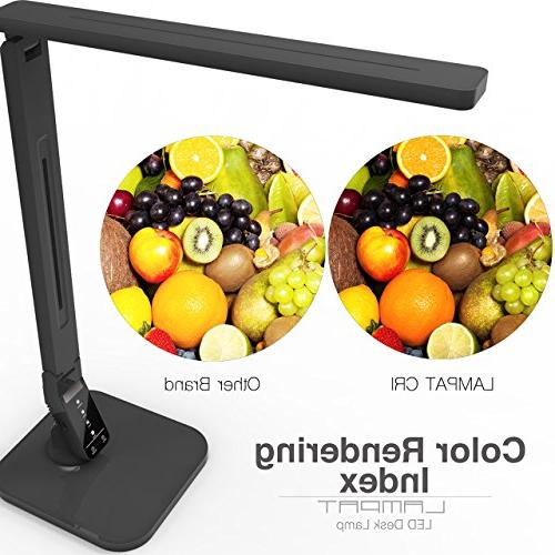 Lampat LED Lamp, Dimmable LED Table Black, 5-Level Control Panel, Auto 5V/2A USB Charging