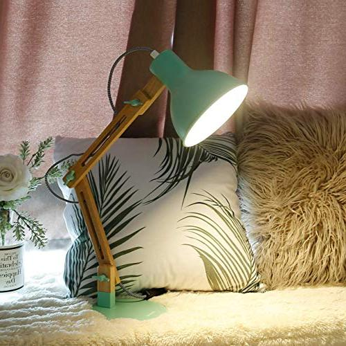 Tomons Arm Desk Lamp, Table for Living Study, Office, Lamp with Bulb Green