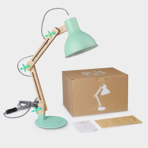 Tomons Swing LED Desk Table Reading for Living Study, Office, Bedside Nightstand Lamp with Bulb