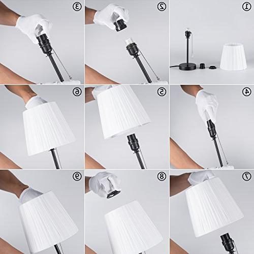 Lanros Fabric Shade Table Lamp Chain Switch Lamp Simple Night Modern Bedside Light for Bedrooms,Living Room, Hotel