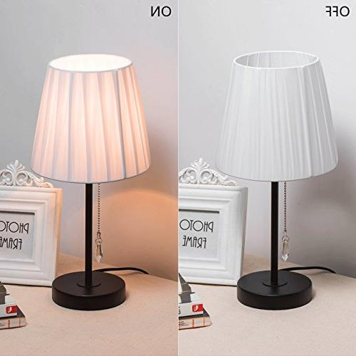 Lanros Fabric Table Lamp with Chain and Lamp Base, Style Night Stand Modern Bedside for Bedrooms,Living