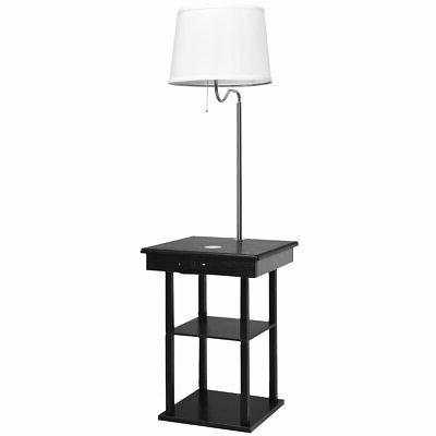 Floor Lamp End Table Modern Bedside Nighstand w/ USB Shelves