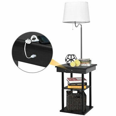 Floor Lamp End Table Modern Nighstand w/ Shelves