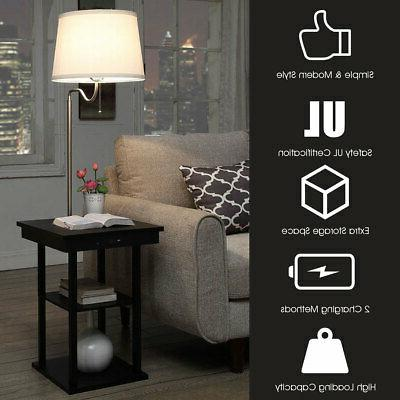 Floor Lamp Table Modern w/ Charging Shelves