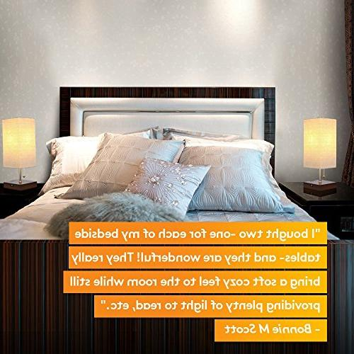 Bedside & Lamp - with Soft, Unique Lampshade USB Port - Perfect - Havana Brown (