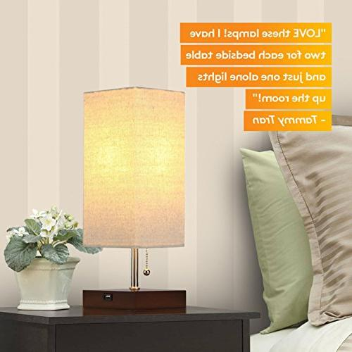Brightech Grace LED Bedside Lamp with Ambient Light, Unique USB for in Living Room, or Office - (