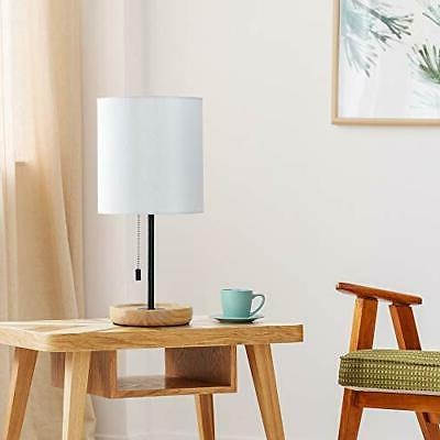 HAITRAL Wooden - Nightstand Lamp with White Shade, Pull