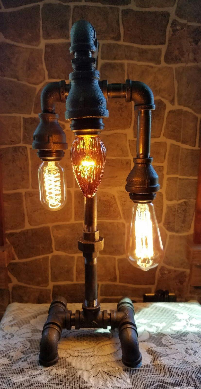 handcrafted industrial pipe desk table 3 bulb
