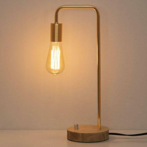 Stylish Wooden Table Lamp with Gold Frame Simple Nightstand