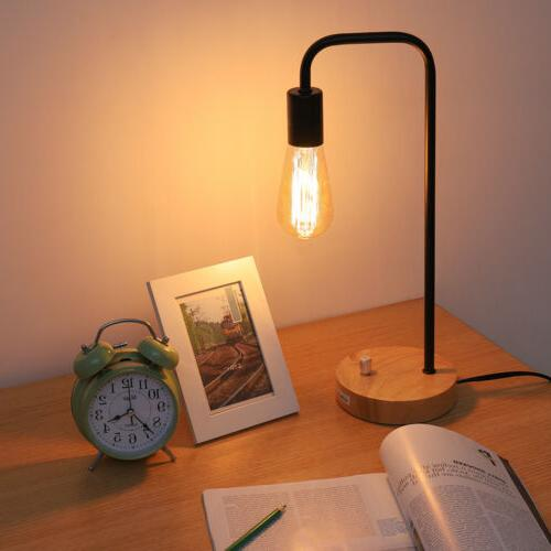 HAITRAL Desk Lamps Imitation Wood Metal Accent Lamp for Offi