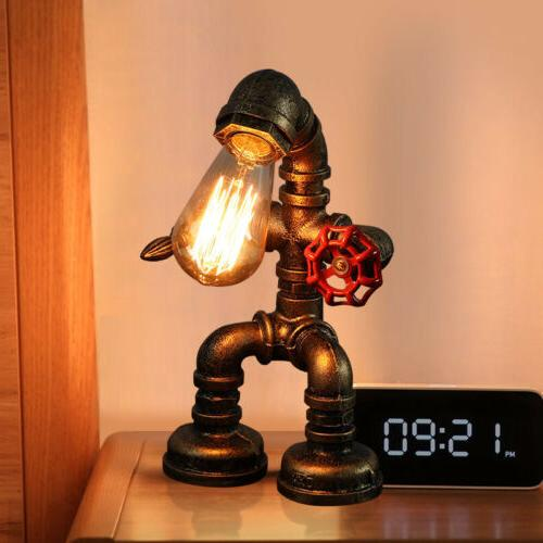 Industrial Iron Pipe Table Lamp Steampunk Robot Desk Light F