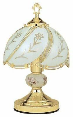 International White Glass Floral Touch Lamp Brushed Gold Med