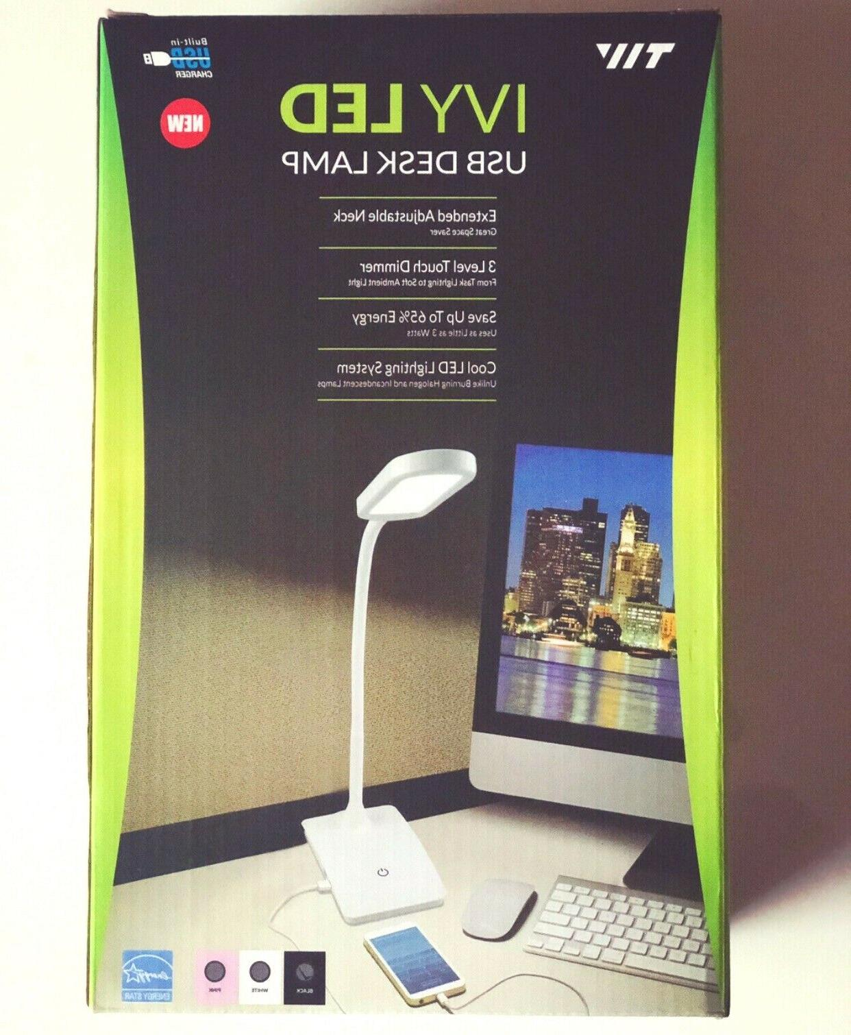 TW IVY-40BK IVY LED Desk with 3-Way Touch Switch