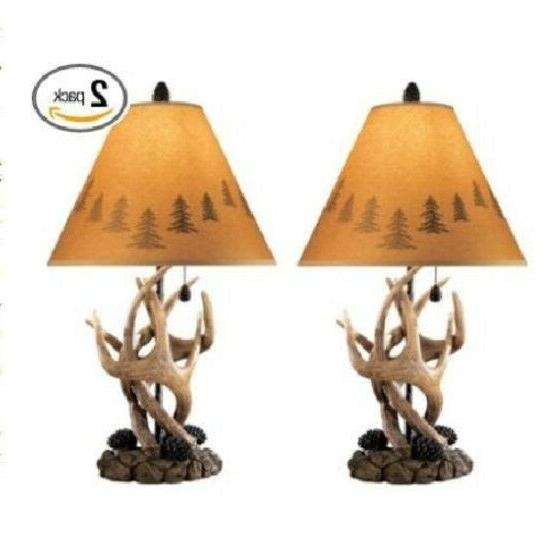 Lamp Set 2 Table Deer Country Cabin Decor