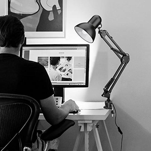 LE Desk Lamp, Metal Clamp and Articulating Multi-Joint, Desk Study, Office and