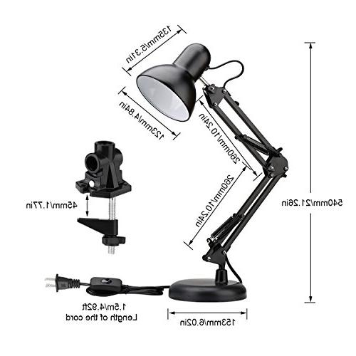 LE Swing Lamp, Standing Table Lamp, Articulating Multi-Joint, Desk Lamp Drafting, Study, and More