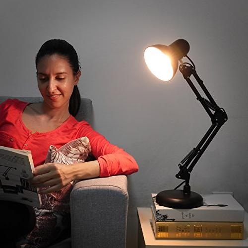 LE Swing Desk Lamp, Metal Standing Articulating Multi-Joint, Desk Lamp for Study, Computer and