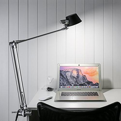 LE Arm Desk Lamp, Clamp Built-in Bulb, Stepless Touch Natural Architect Lamp Study,