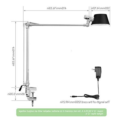 LE Desk Lamp, Clamp Lamp with Built-in LED Stepless Touch Natural Intensity Architect for Study, Drafting, Computer and More