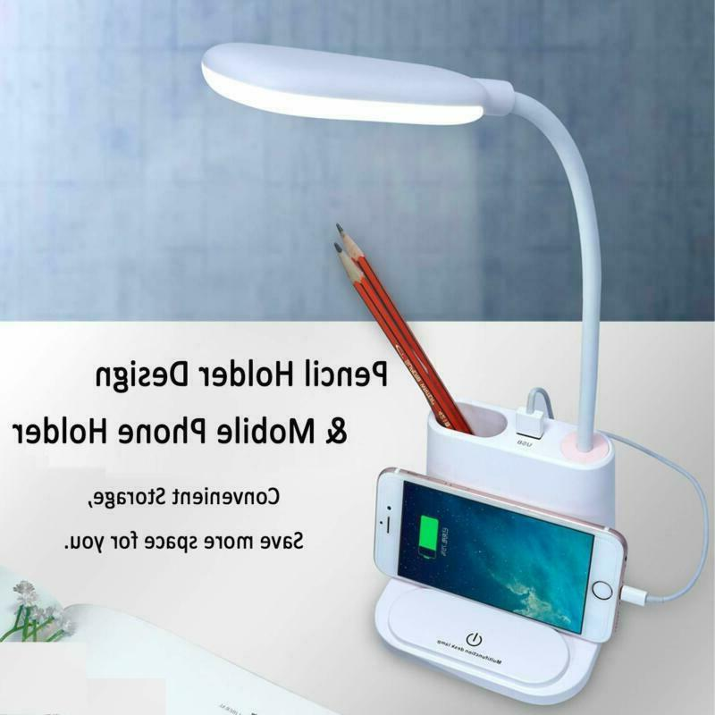 LED Desk Pencil Holder Port Dimmable Control White