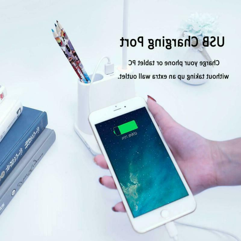 LED Desk Pencil Charging Port Dimmable Touch White