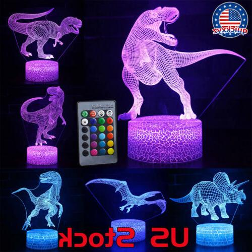 led night light dinosaur 3d remote control