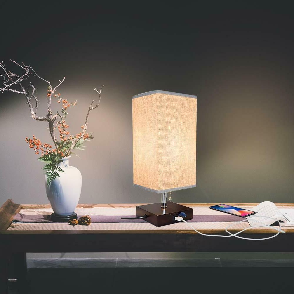 LED Wooden Table Lamp Desk Light with USB Port Bedroom