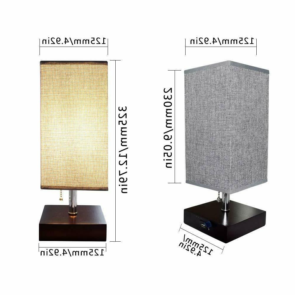 LED Bedside Table Lamp Desk Nightstand Light with USB Port Bedroom