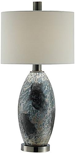 Logan Black and White Reaction Glass Table Lamp