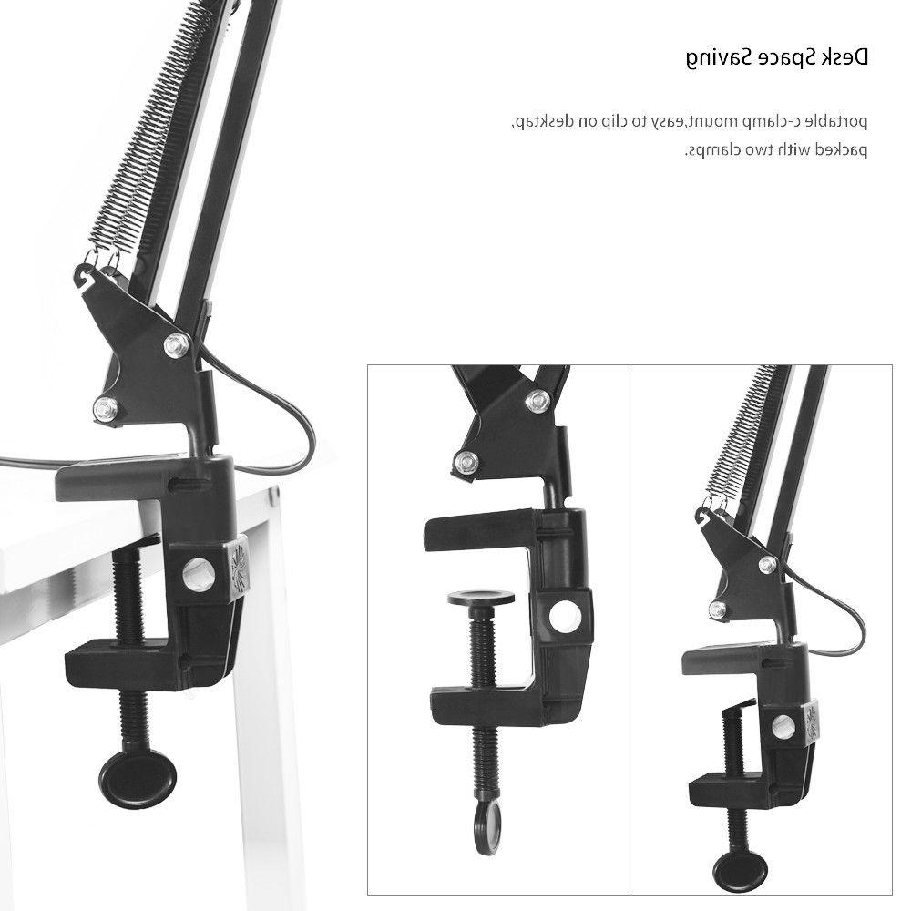Long Arm Desk Work Folding Clip-on LED Table Lighting RechargeableD