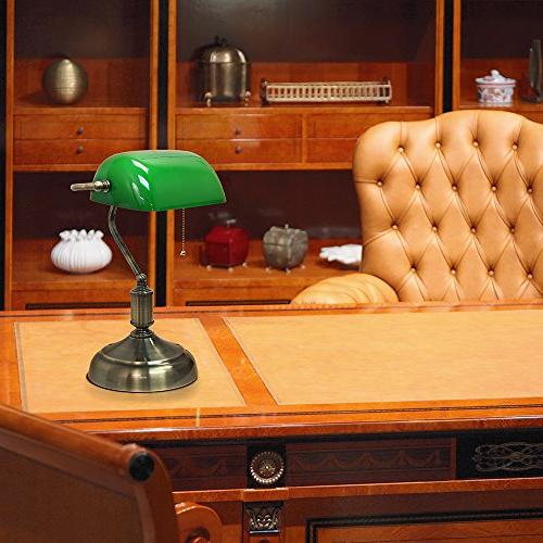 """Simple Executive Desk with Executive Banker's Desk with Green 14.75"""", Nickel"""