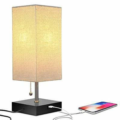 Modern Bedside Table & Desk LED Lampshade with USB Charging