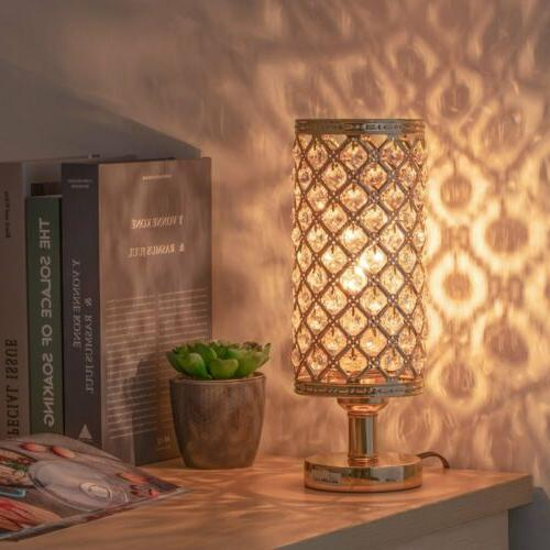 Modern Nightstand Desk Lamp with Beads Lampshade Metal Base