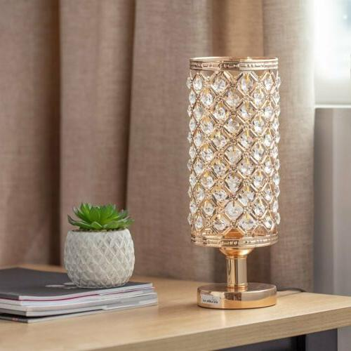 modern nightstand desk lamp with beads lampshade