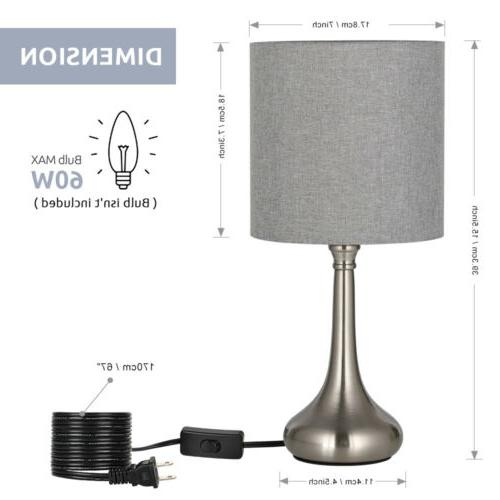 2 Sets/PCS Lamp Modern Lights Fabric Shade Metal Base