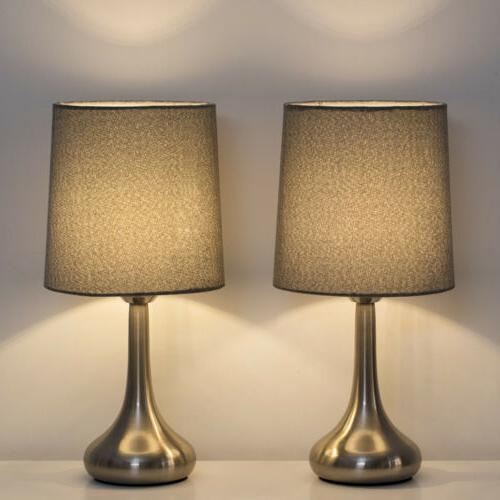 2 Lamp Small Desk with Fabric Shade for Bedroom,
