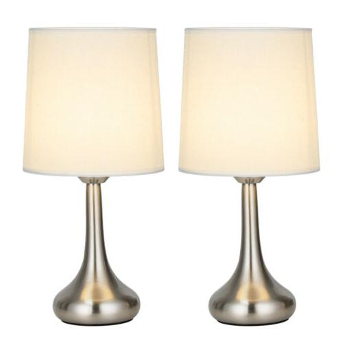 HAITRAL Modern Table Desk Lamp Set of 2 with Fabric Shade Me