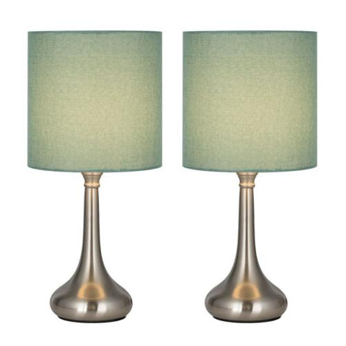 HAITRAL Modern Table Desk Lamp Set of 2 with Fabric Shade