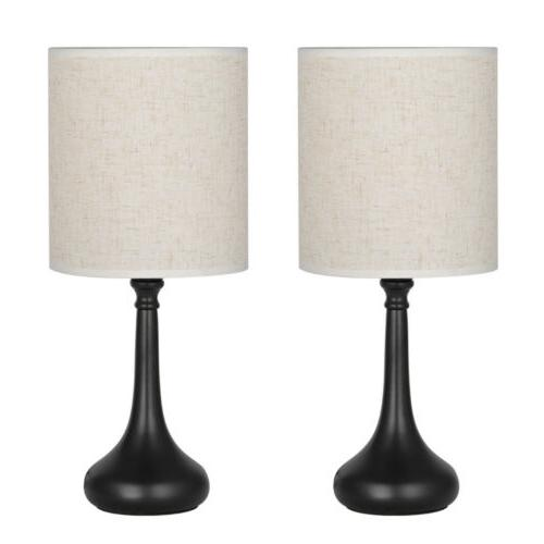 HAITRAL Modern Table Desk Lamp Set of 2 with Fabric Shade Ni