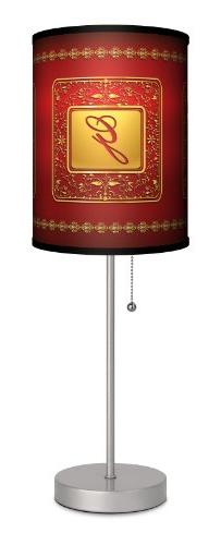 Monograms - Golden with Red Letter G Sport Silver Lamp