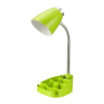 Neon Green Gooseneck Organizer Desk Lamp with iPad Stand or